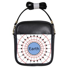 Magnetik Earth s Gravitational Line Triangle Girls Sling Bags by Mariart