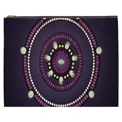 Mandalarium Hires Hand Eye Purple Cosmetic Bag (xxxl)  by Mariart