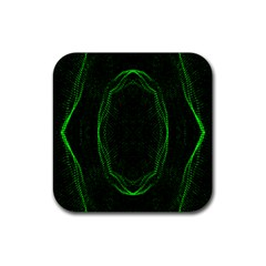 Green Foam Waves Polygon Animation Kaleida Motion Rubber Square Coaster (4 Pack)  by Mariart