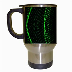 Green Foam Waves Polygon Animation Kaleida Motion Travel Mugs (white) by Mariart