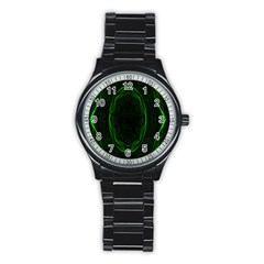 Green Foam Waves Polygon Animation Kaleida Motion Stainless Steel Round Watch by Mariart