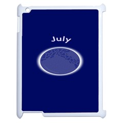Moon July Blue Space Apple Ipad 2 Case (white) by Mariart