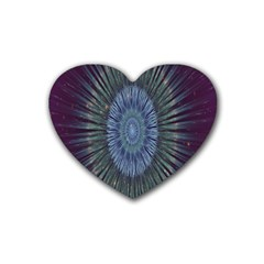 Peaceful Flower Formation Sparkling Space Rubber Coaster (heart)  by Mariart