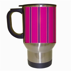 Pink Line Vertical Purple Yellow Fushia Travel Mugs (white) by Mariart