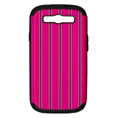 Pink Line Vertical Purple Yellow Fushia Samsung Galaxy S Iii Hardshell Case (pc+silicone) by Mariart