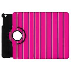 Pink Line Vertical Purple Yellow Fushia Apple Ipad Mini Flip 360 Case by Mariart