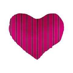 Pink Line Vertical Purple Yellow Fushia Standard 16  Premium Flano Heart Shape Cushions by Mariart