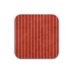 Line Vertical Orange Rubber Square Coaster (4 Pack)  by Mariart