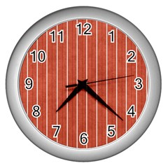 Line Vertical Orange Wall Clocks (silver)  by Mariart
