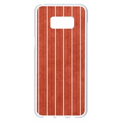 Line Vertical Orange Samsung Galaxy S8 Plus White Seamless Case by Mariart