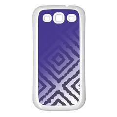 Plaid Blue White Samsung Galaxy S3 Back Case (white) by Mariart