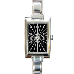 Ray White Black Line Space Rectangle Italian Charm Watch by Mariart