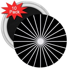 Ray White Black Line Space 3  Magnets (10 Pack)  by Mariart