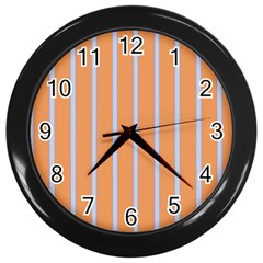Rayures Bleu Orange Wall Clocks (black) by Mariart