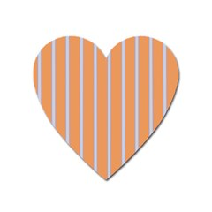 Rayures Bleu Orange Heart Magnet by Mariart
