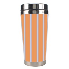 Rayures Bleu Orange Stainless Steel Travel Tumblers by Mariart