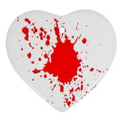 Red Blood Splatter Ornament (heart) by Mariart