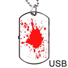 Red Blood Splatter Dog Tag Usb Flash (two Sides) by Mariart