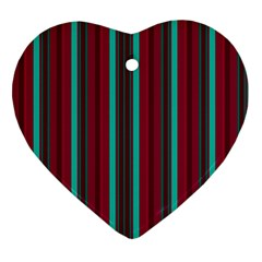Red Blue Line Vertical Ornament (heart) by Mariart