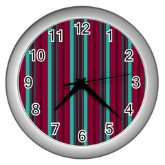 Red Blue Line Vertical Wall Clocks (silver)  by Mariart