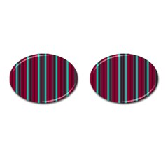 Red Blue Line Vertical Cufflinks (oval) by Mariart