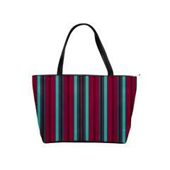 Red Blue Line Vertical Shoulder Handbags by Mariart