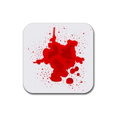 Red Blood Transparent Rubber Square Coaster (4 Pack)  by Mariart
