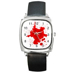 Red Blood Transparent Square Metal Watch by Mariart