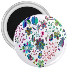 Prismatic Psychedelic Floral Heart Background 3  Magnets by Mariart