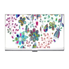 Prismatic Psychedelic Floral Heart Background Business Card Holders by Mariart