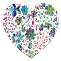 Prismatic Psychedelic Floral Heart Background Jigsaw Puzzle (heart) by Mariart