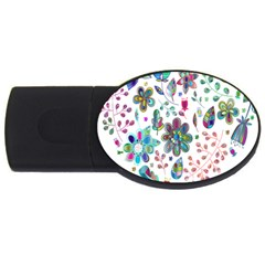 Prismatic Psychedelic Floral Heart Background Usb Flash Drive Oval (4 Gb) by Mariart
