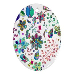 Prismatic Psychedelic Floral Heart Background Oval Ornament (two Sides) by Mariart
