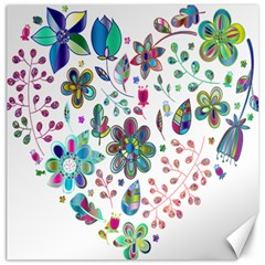 Prismatic Psychedelic Floral Heart Background Canvas 16  X 16   by Mariart