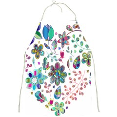 Prismatic Psychedelic Floral Heart Background Full Print Aprons by Mariart