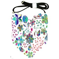 Prismatic Psychedelic Floral Heart Background Shoulder Sling Bags by Mariart