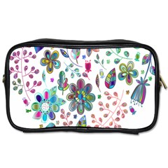 Prismatic Psychedelic Floral Heart Background Toiletries Bags by Mariart