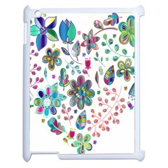 Prismatic Psychedelic Floral Heart Background Apple Ipad 2 Case (white) by Mariart