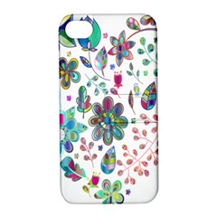 Prismatic Psychedelic Floral Heart Background Apple Iphone 4/4s Hardshell Case With Stand by Mariart