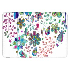 Prismatic Psychedelic Floral Heart Background Samsung Galaxy Tab 8 9  P7300 Flip Case by Mariart