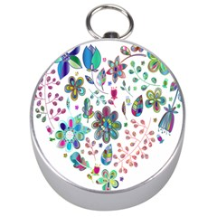 Prismatic Psychedelic Floral Heart Background Silver Compasses by Mariart