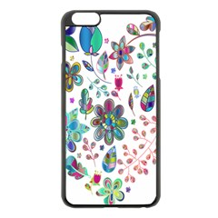 Prismatic Psychedelic Floral Heart Background Apple Iphone 6 Plus/6s Plus Black Enamel Case by Mariart