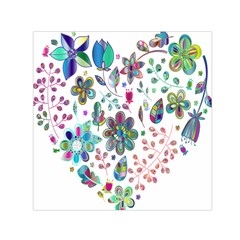 Prismatic Psychedelic Floral Heart Background Small Satin Scarf (square) by Mariart