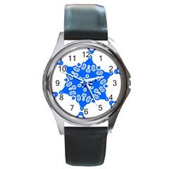 Snowflake Art Blue Cool Polka Dots Round Metal Watch by Mariart
