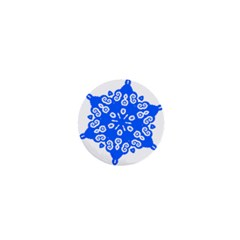 Snowflake Art Blue Cool Polka Dots 1  Mini Buttons by Mariart