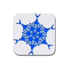 Snowflake Art Blue Cool Polka Dots Rubber Square Coaster (4 Pack)  by Mariart