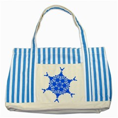 Snowflake Art Blue Cool Polka Dots Striped Blue Tote Bag by Mariart