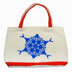 Snowflake Art Blue Cool Polka Dots Classic Tote Bag (red) by Mariart