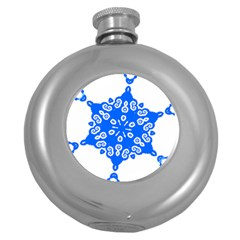 Snowflake Art Blue Cool Polka Dots Round Hip Flask (5 Oz) by Mariart