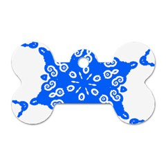 Snowflake Art Blue Cool Polka Dots Dog Tag Bone (two Sides) by Mariart